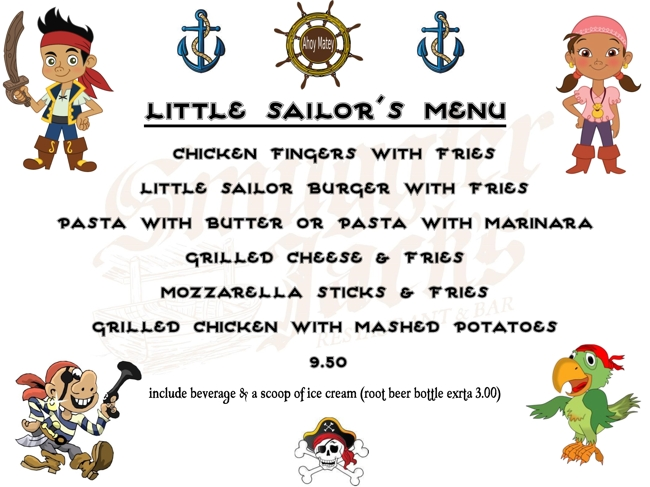 Smuggler Jack's Little Sailors Children's Menu