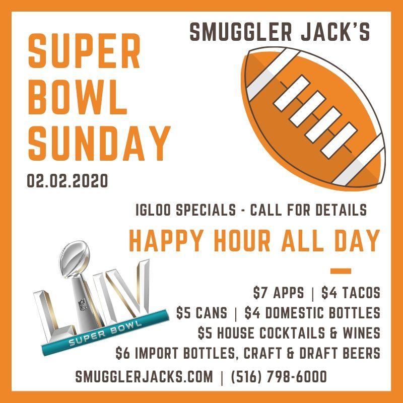 Super Bowl Sunday 2020 Menu - Smuggler Jack's Long Island Massapequa